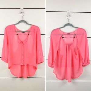 UO SPARKLE & FADE Open Back Sheer High Low Blouse